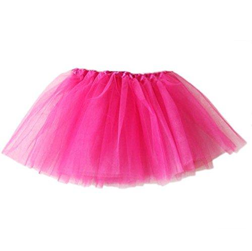 Xmansky Mädchen Tüllrock Tütü Ballettrock Tanzkleid Ballettkleid Ballettröckchen Rock (Pink) (Rock Pink Mädchen-multi)
