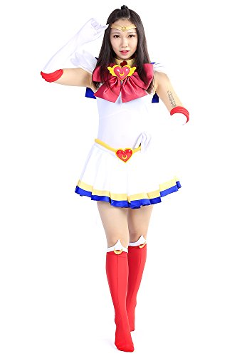 De-Cos Sailor Moon Super S Cosplay Costume Tsukino Usagi Fighting Uniform Set V4