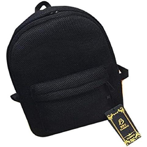 Tongshi La manera del verano muchachas de las mujeres del hilado neto de cuadrícula mochila bandolera (Negro)