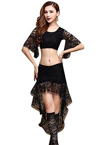 YiJee Damen Spitzen Bauchtanz Kostüm Tops Indischer Tanz Bauchtanz Rock Schwarz L (Indische Bollywood Tanz Kostüm)