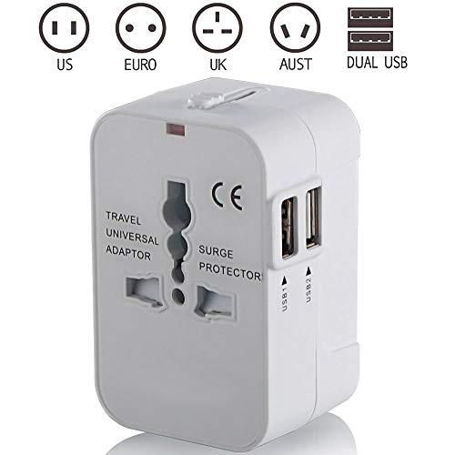 Reiseadapter, weltweite All-in-One-Universal-Stromrichter, Netzteil-Ladegerät mit Zwei USB-Ladeanschlüssen für USA EU UK AUS,B -