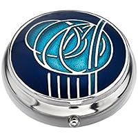 Pillendose–Rennie Mackintosh Double Rose Design, emailliertes Zinn, Blau/Aqua preisvergleich bei billige-tabletten.eu
