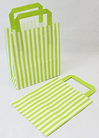 10 Lime Green Candy Stripe Paper Party Gift Bags 18cm x 21cm plus Handle