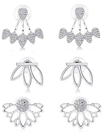 Milacolato hohlen Lotus Ohrringe für Frauen Mädchen Mode Blume Ohr Jacken Crystal einfache schicke Ohrstecker Bar Ohrstecker Manschette Ohrringe Set