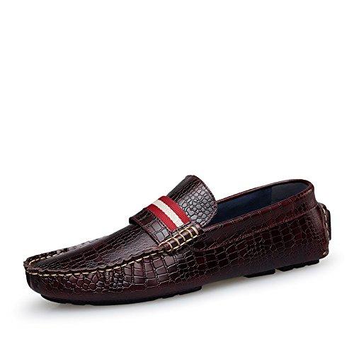 Herren Flat Drivingl Schuhe Leder Loafer Flats Slip-On Mokassins Rotwein