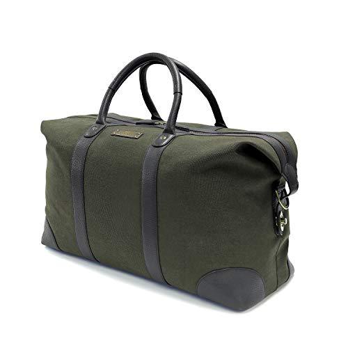 DRAKENSBERG DRAKENSBERG Reisetasche groß, handgepäck-tauglich, Lamond-Weekender, 45 L, Canvas und Echt-Leder, Dunkel-Grün, DR00400