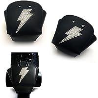 Karlchoupte Punteras para patines de ruedas, de cuero, con diseño de rayo - Silver Lightning