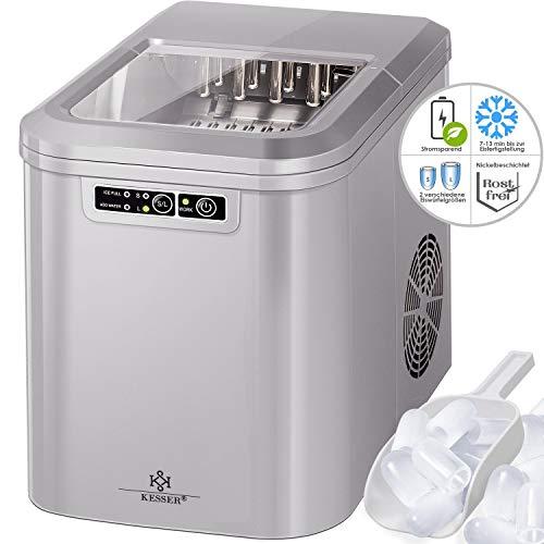 Kesser® Eiswürfelbereiter | Eiswürfelmaschine Edelstahl | Ice Maker | 12 kg 24 h | Zubereitung in 7 min | 2,2 Liter Wassertank | 2 Eiswürfel-Größen | LED-Display | Selbstreinigungsfunktion | Silber