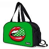 Reisetasche Sporttasche Rot Lippen Grün Reisetaschen Reise Duffel Tasche Tragetasche mit Schuhfach