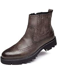 Botas Chelsea para Hombre Botines CóModos con Punta En Punta Zapatos De Cuero con Cremallera Botas