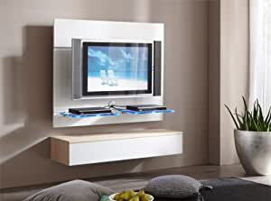 tv wand wandpaneel paneel mit lowboard glasboden weiss sonoma eiche hochglanz. Black Bedroom Furniture Sets. Home Design Ideas