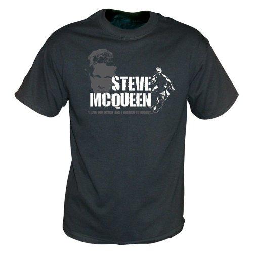 TshirtGrill Steve McQueen - das große Entweichenweinlese-Wäschet-shirt X-Groß, Farbe- Schwarzes