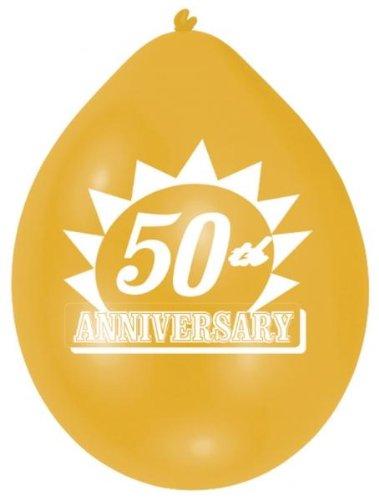 Amscan 10 globos de látex 50 aniversario de oro, 22,8cm