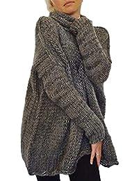 Jersey Cuello Alto Mujer Otoño Invierno Termica Suéter De Punto Manga Larga High Collar Anchas Casuales Moda Clásico Elegantes Color Sólido…