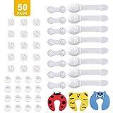 Kits Sécurité de Bébé (paquet de 50), 16 x protections d'angles 16 x verrous d'armoire de sécurité pour bébé 15 x cache prise electrique de protection enfants 3 x anti pincement protège doigt