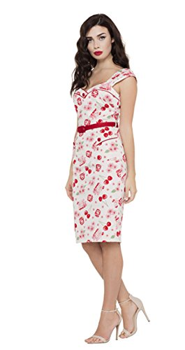 Voodoo Vixen ANNE Vintage CHERRY Kirschen Wiggle Dress Kleid Rockabilly