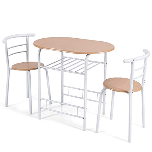 Goplus 3-teilige Essgruppe, Sitzgruppe mit 1 Tisch und 2 Stühlen, Esstisch Set, Balkonset aus Holz, Holztisch
