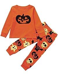 K-youth Ropa Niño Otoño Invierno Halloween Calabaza Camisas de Manga Larga Camisetas Blusas de Pijama + Pantalones 2pcs Ropa Trajes Conjunto Niño 2-8 Años