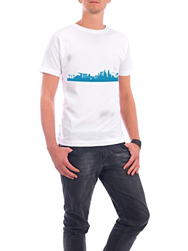 "Design T-Shirt Männer Continental Cotton ""SINGAPUR 05 Skyline Print monochrome Teal"" - stylisches Shirt Abstrakt Städte Städte / Singapur Architektur von 44spaces Weiß"