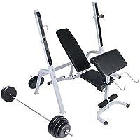 Physionics - Juego de banco de ejercicios y barra larga con pesas de 60 kg