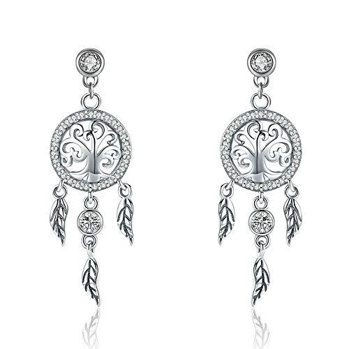 Pendientes de plata de ley 925 con diseño de árbol de la vida y atrapasueños, para mujeres, joyería de plata de ley vintage