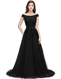 MisShow® Damen Spitzen Abendkleid Ballkleid Tüll Hochzeitskleid Rückenfrei Bodenlang 32-46