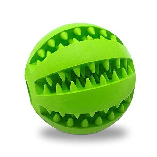 Hundespielzeug Ball von Voyage aus Naturkautschuk | Spielzeug für Hunde | Robuster Natur-Gummi Hundeball für Leckerli | Langlebiger Hundespielball | Auch für Welpen | Kauspielzeug | Spielzeug für Große & Kleine Hunde | Voll-Gummi Hunde-Frisbee, ø 7cm mit Dental-Zahnpflege-Funktion mit Noppen und Loch für Leckerli. (Grüne) (Ball In Einem Ball Hund Spielzeug)
