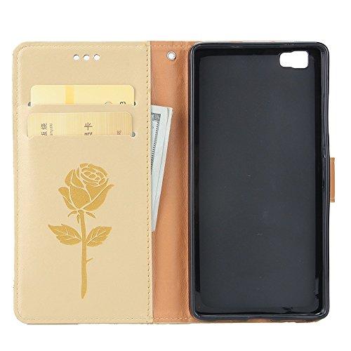 Gemischte Farben Rose Blume matt Premium PU Leder Brieftasche Stand Case Cover mit Lanyard & Card Slots für Huawei P8 Lite ( Color : Purple ) White
