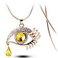 KLKL Fashion Chain Necklaces Crystal Magic Eye Tear Drop Eyelashes Pendant Long Necklace Jewelry
