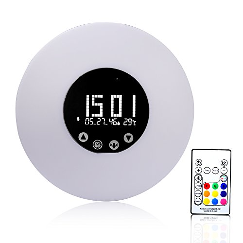 CAHAYA LED Lichtwecker LED Wake-Up Light 9 Farben Atmosphere Lampe 10-Helligkeit Nachttischlampe