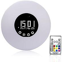 CAHAYA Reloj Digital LED, Reloj LED Despertador con Alarma y 51 melodías, Indicador de Temperatura y Humedad, Dispone de luz LED de Varios Colores y Mando a Distancia, Color, Tono e Intensidad de Iluminación Ajustables