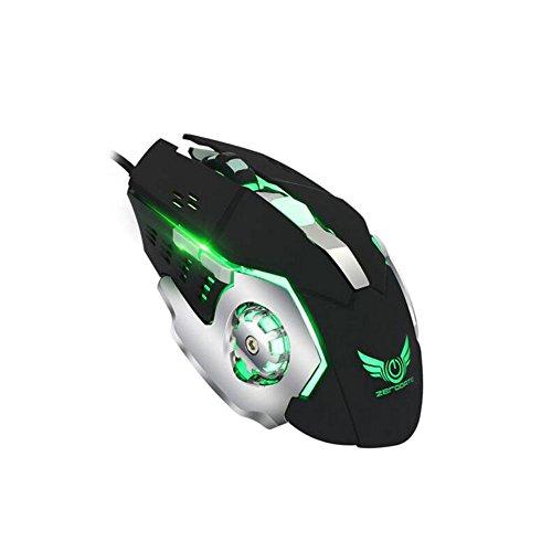 Wired Game Mouse, Quiet Click 6Tasten 2.4G Optische USB Gaming und Büro Maus für Notebook Ergonomische Maus mit Nano Receiver, 8dpi Ebenen verstellbar, LED Light, Dual Energy Saving Modi für Windows 7/8 -