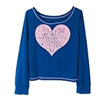Vertvie Womens Pullover Long Sleeve Loose Off Shoulder Sweatshirt Pullovers Heart Printed Crop Tops Sexy T shirts (L, Sapphire)