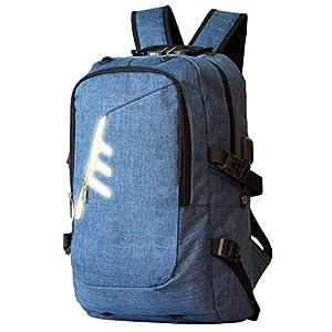 WOTENCE Mochila Antirrobo para Portátil, Reflexivas Multiusos Daypacks con Puerto de Carga USB y Toma de Auriculares Mochila con la Red de Baloncesto, Ideal para Estudiantes/Negocios/Viajes (Azul)