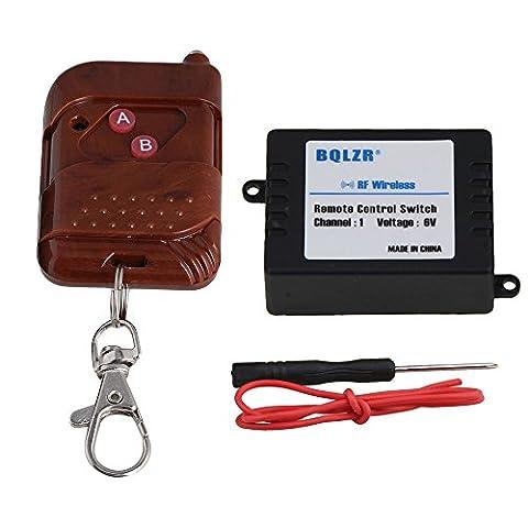 BQLZR 433MHz 6V CC 30–50m 1canal verrouillage/clef auto-serrant/évacuation de commutateur de commande à distance d'apprentissage Code récepteur avec transmetteur Marron pour lumière
