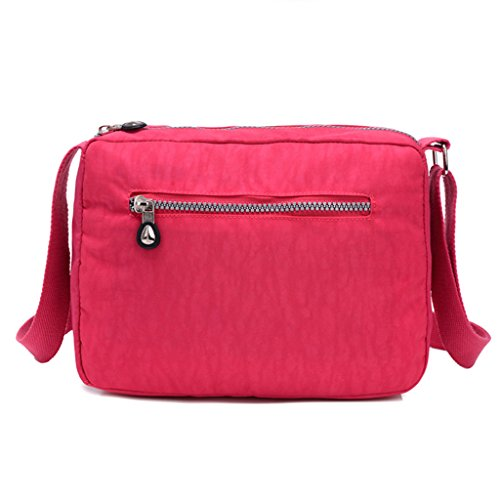 TianHengYi Small Water Resistant Womens Cross-body Shoulder Bag Lightweight Nylon Fabric Messenger Bag Rose