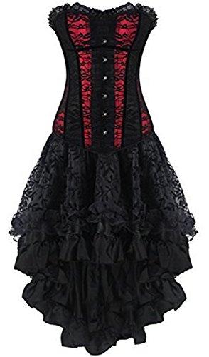 nkleid Steampunk Burleske Body Shaper Schwarz Corsage Kleid (Halloween-kostüme Mit Einem Schwarzen Kleid)