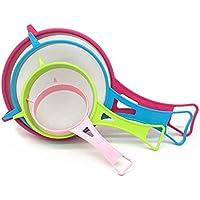 SEVENHOPE 4pcs rosa grün blau rot Sojamilch Mehl Sieb Küche Zubehör Gadget