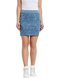 Rider Republic Women Printed Denim Pencil Skirt
