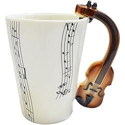 Giftgarden vaso de café expresso--un vaso imaginativo con asa de violín.