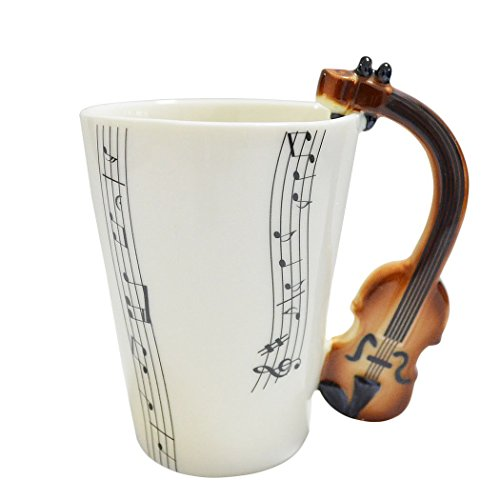 Giftgarden Tasse Weiß lustige Kaffeetasse Teetasse mit Geige Griff