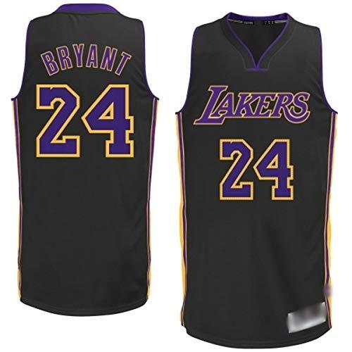 WOLFIRE SC Camiseta de Baloncesto para Hombre, NBA, Los Angeles Lakers #8#24 Kobe Bryant. Bordado Swingman Transpirable y Resistente al Desgaste Camiseta para Fan (Negra, M)