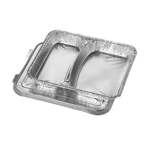 200 Alu-Menüschalen flach 2-geteilt mit Alu-Deckeln 840ml. Alu-Schalen / Menüschalen / Lunchbox / Menüteller /