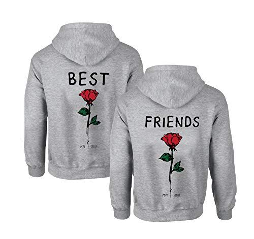 Best Friends Hoodies für Zwei Mädchen Rose Sister Freunde Pullover Set für 2 Damen Kapuzenpullover Pulli Freundin Kapuzenpulli BFF Geschenke (Grau-1, L + L) (Günstige Kinder Sachen Unter 5 $)