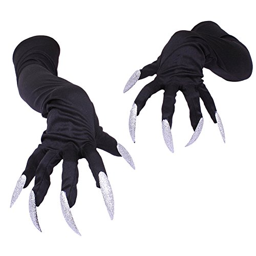 Katze Krallen Kostüm - Brave Pioneer Schwarze Katzen Handschuhe mit Krallen Halloween Kostüm Party Club (schwarz)