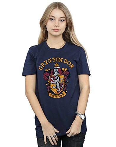 Harry Potter Damen Gryffindor Crest Boyfriend Fit T-Shirt Navy Blau X-Large
