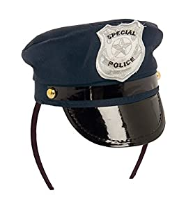 Folat - Gorra de policía con Diadema y diseño de Insignia (Talla única, Azul)