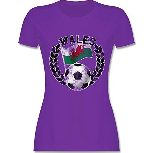 EM 2016 - Frankreich - Wales Flagge & Fußball Vintage - tailliertes Premium  T-Shirt