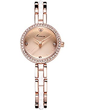 Alienwork Quarz Armbanduhr Armreif Kette wickeln Quarzuhr Uhr Strass elegant rose gold Metall YH.KW6146S-04