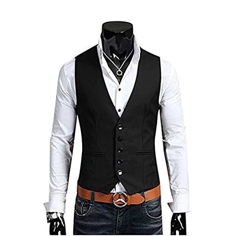 BiSHE Men`s Plain Slim Fit Sleeveless Vintage Style Skinny Business Suit Jacket Vest Waistcoat